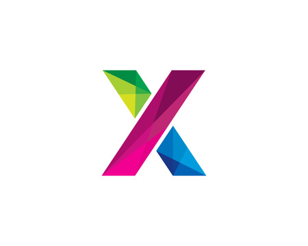 Letter X Color Poly Logo Design Illustration