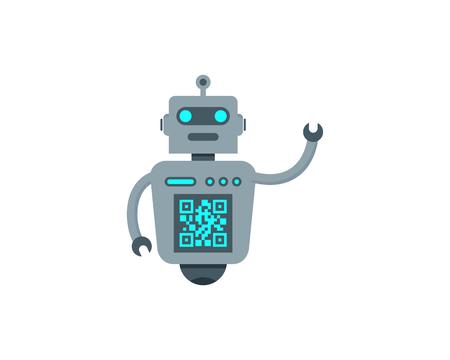 Barcode Robot Logo Icon Design