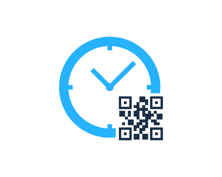 Barcode Time Logo Icon Design