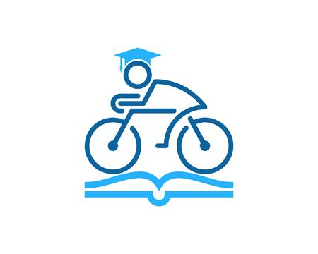 Education Bike Icon Design in white background. Ilustrace