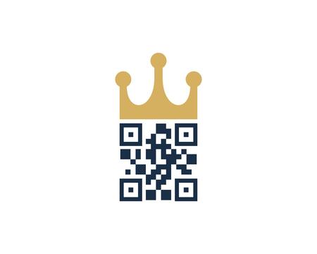 King Barcode Logo Icon Design Çizim