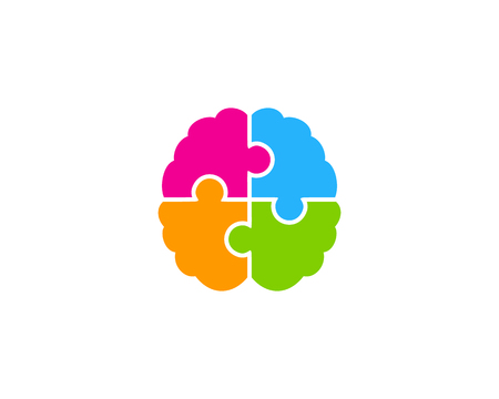 Puzzle Brain Logo Icon Design