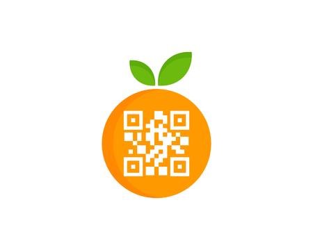 Barcode Fruit Logo Icon Design 向量圖像