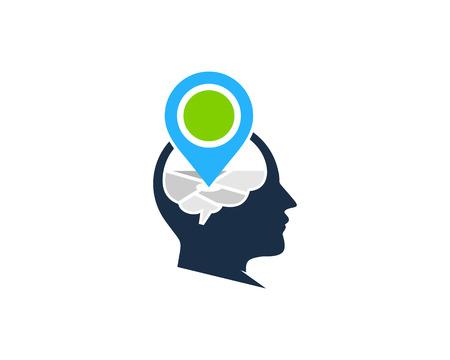 Pointer on Brain Icon Design Ilustração