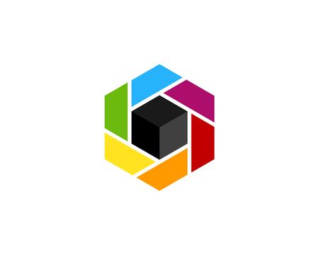 Colorful Hexagon Logo Icon Design Illustration