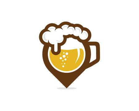 Beer Pin Logo Icon Design Stock Illustratie