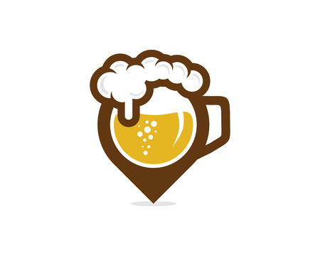 Beer Pin Logo Icon Design Ilustrace