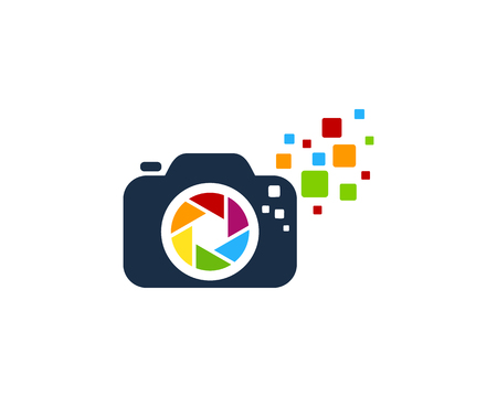 Pixel camera Logo Icon Design Illustration