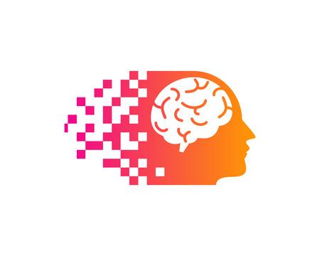 Pixel Brain Logo Icon Design Illustration