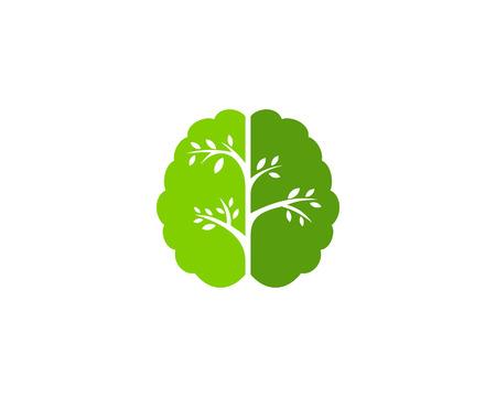 Boom hersenen embleemontwerp pictogram Vector Illustratie