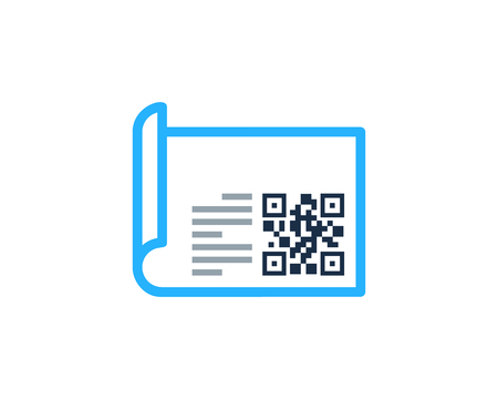 Bar code Paper Icon template Design vector illustration. Çizim