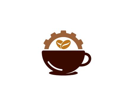 Gear Coffee Logo Icon Design Illustration