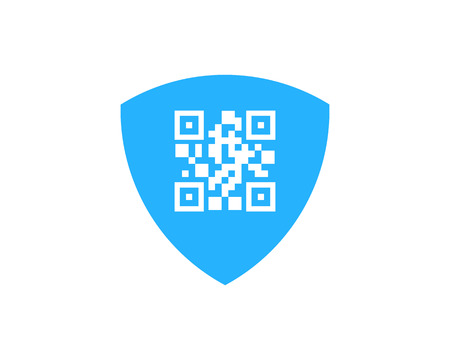 Barcode Shield Icon Design in white background.