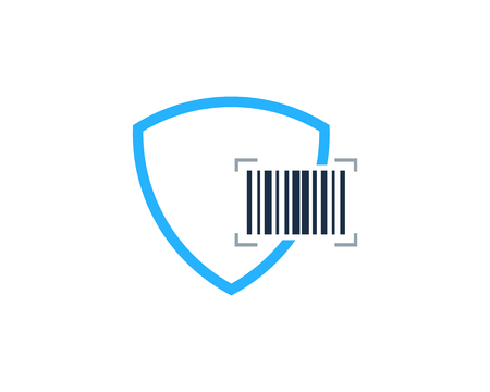 Barcode Shield  Icon Design in white background.  イラスト・ベクター素材