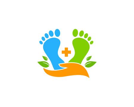 Zorg voet embleemontwerp pictogram
