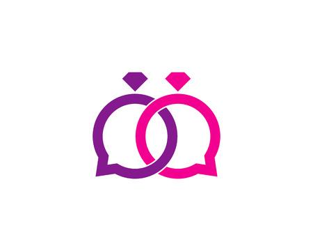 Talk Wedding Logo Icon Design Illustration
