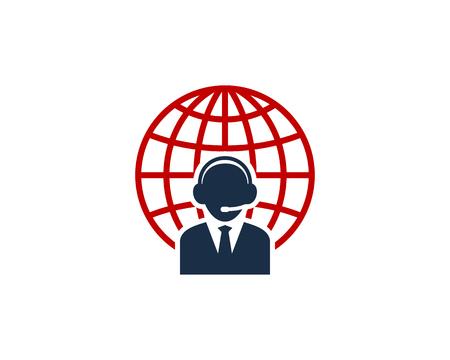 Customer Service Globe Logo Icon Design