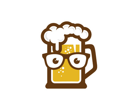 Diseño de icono de logotipo de cerveza geek Logos