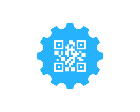 Barcode Gear Logo Icon Design Stock Illustratie