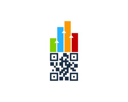 Barcode Graph Logo Icon Design