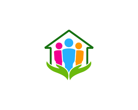 Care Team Home Logo Icon Design Vettoriali