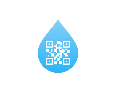 Barcode Water Logo Icon Design