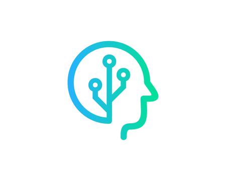 Diseño de icono de logotipo de cabeza digital Logos