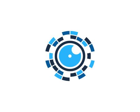 Vision Pixel Logo Icon Design. 向量圖像