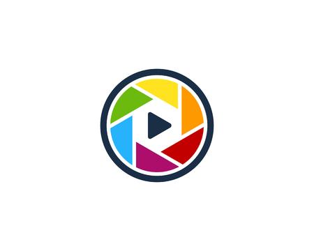 Lens Video Logo Icon Design. Illustration