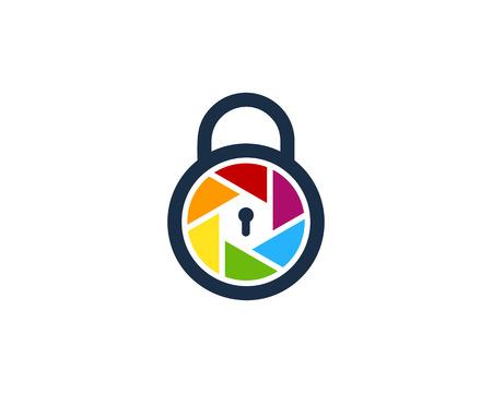 Lens Lock Logo Icon Design