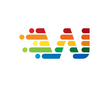 W Colorful Letter Logo Icon Design Standard-Bild - 100588127