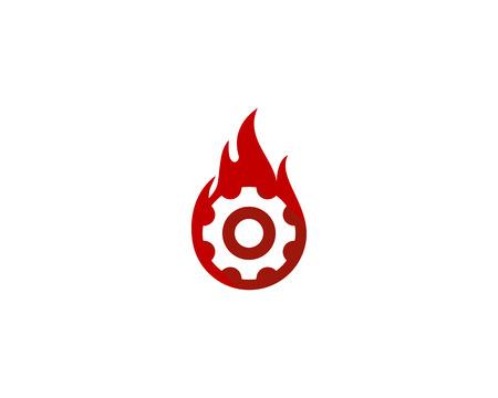 불꽃 기호로 기어의 그림 개념 아이콘 로고 디자인 요소입니다. 일러스트