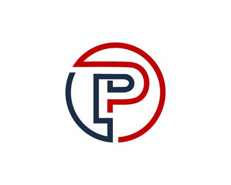 Letter P Circle Line Icon Logo Design Element