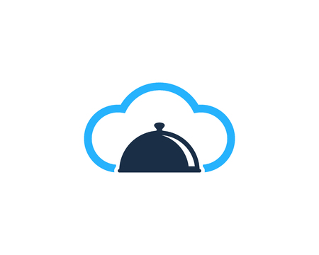 A meals cover icon and a cloud symbol. Logo Design Element