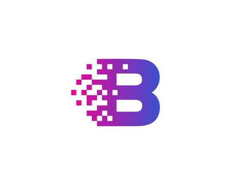 文字 B デジタル ピクセル アイコン ロゴのデザイン要素