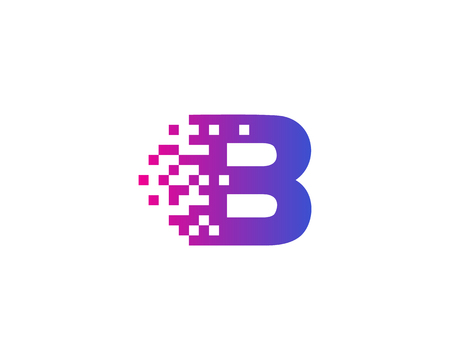 Letter B Digital Pixel Icon Logo Design Element