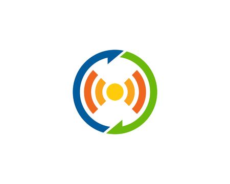 무선 연결 아이콘 로고 디자인 요소