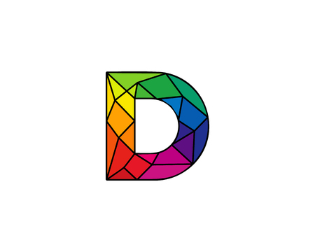 Élément de design coloré lettre D Low Poly Icon Logo