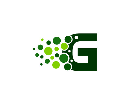 Letter G Pixel Dot Circle Icon Logo Design Element