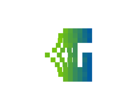 Letter G Pixel Bit Icon Logo Design Element