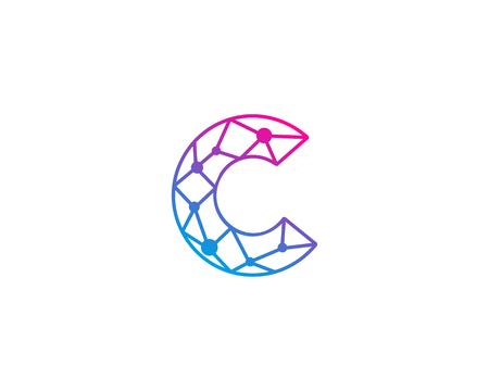 문자 C 네트워크 아이콘 로고 디자인 요소