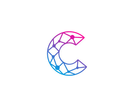 Letter C Network Icon Logo Design Element