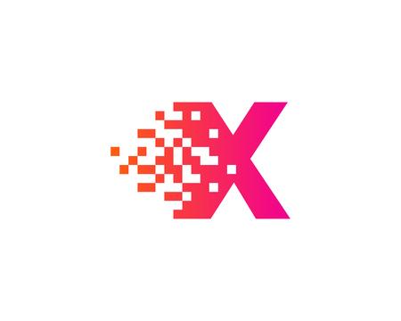 Letter X Digital Pixel Icon Design Element Фото со стока - 80692855