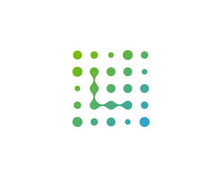 手紙 L ドット アイコン ロゴのデザイン要素