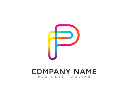 Line Rainbow Color Letter Icon Logo Design Element Stock Illustratie