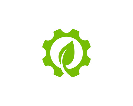 A gear Icon with leaf sign in the center.Logo Design Element