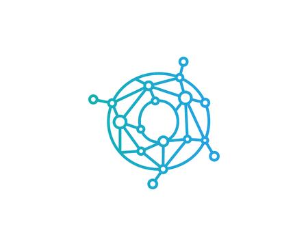 문자 O 연결 도트 네트워크 아이콘 로고 디자인 요소