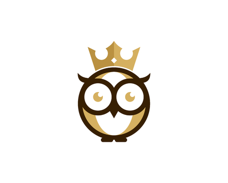 Owl and king crown icon logo design element Vectores