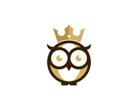 Owl and king crown icon logo design element Stock Illustratie
