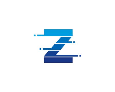 Letter Z Pixel Cut Line Icon Logo Design Element Ilustrace